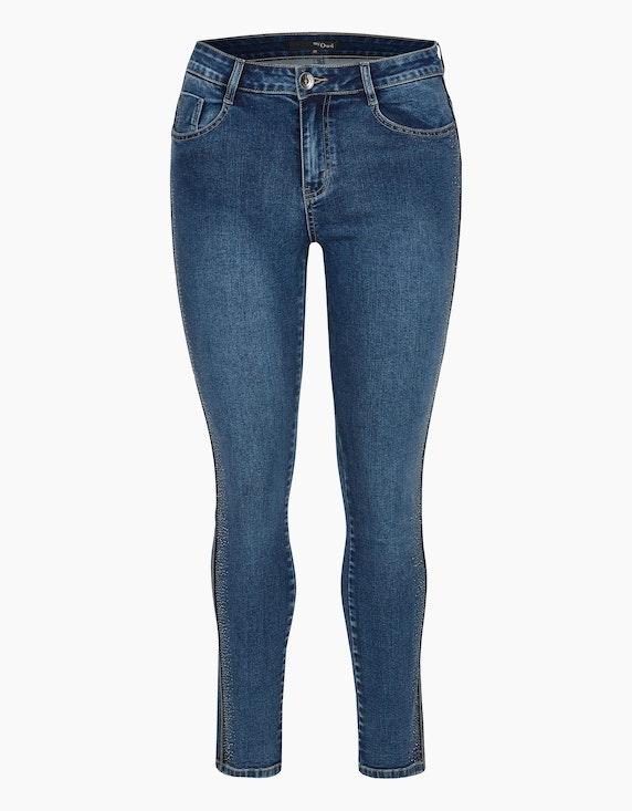 MY OWN Denim-Jeanshose mit Silber-Galonstreifen und Ziersteinen in Denim Blue | ADLER Mode Onlineshop