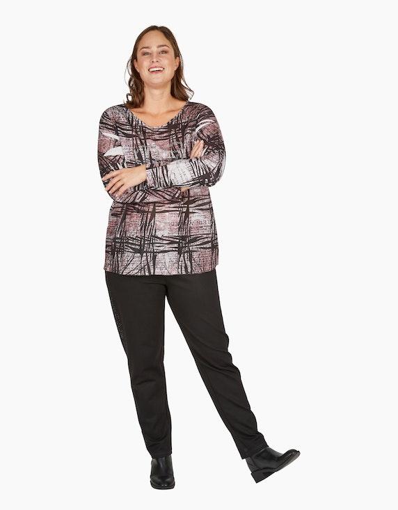 Thea Shirt mit Allover-Druck und Ziersteinen | ADLER Mode Onlineshop