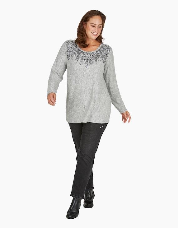 Thea Feinstrick-Shirt in Melange-Optik mit Pailletten | ADLER Mode Onlineshop
