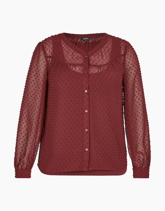 Viventy transparente Bluse mit Jaquard-Punkten allover in Bordeaux | ADLER Mode Onlineshop