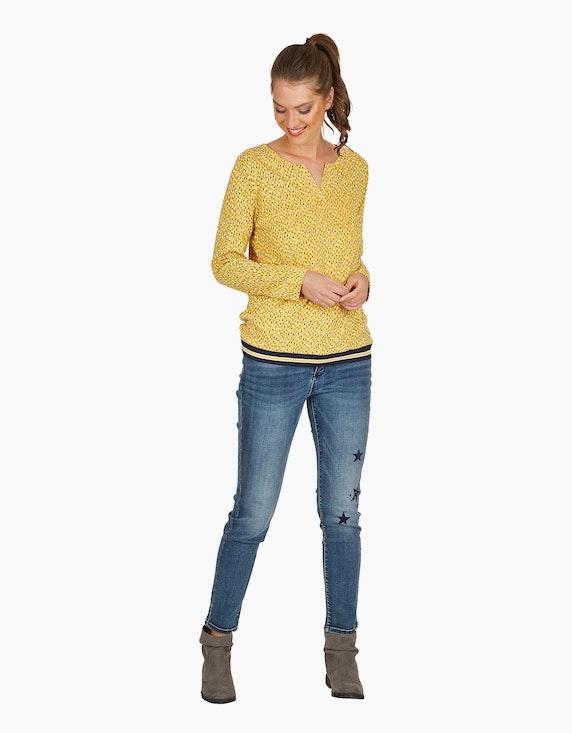 Via Cortesa Jersey-Shirt mit Flecken-Print, Baumwoll-Viskose-Mischung in Senfgelb/Marine/Weiß   ADLER Mode Onlineshop