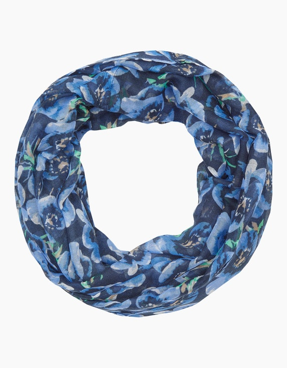 MY OWN Loop-Schal mit floralem Druck in Marine/Blau/Grün/Offwhite | ADLER Mode Onlineshop