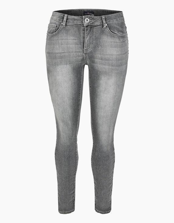 Via Cortesa Denim-Jeanshose mit Ziernieten in Denim Grey | ADLER Mode Onlineshop