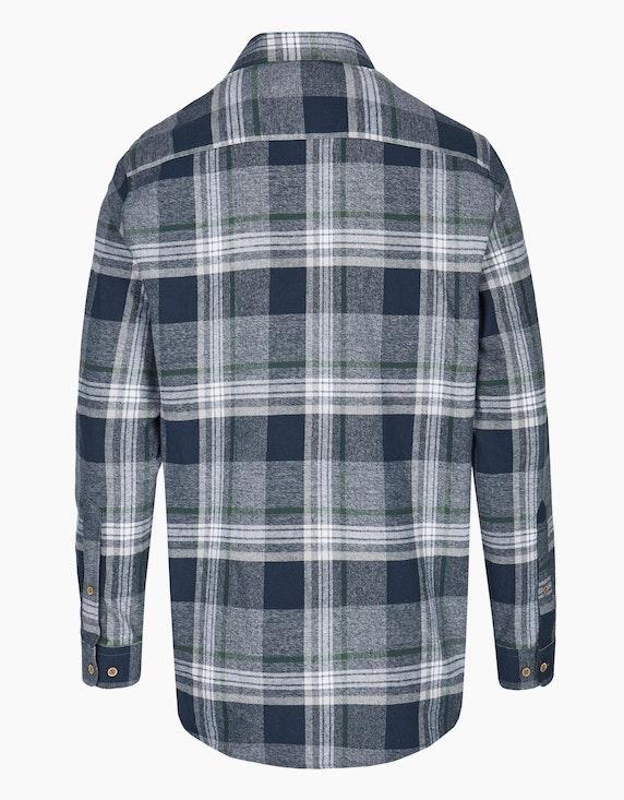 Bexleys man Kariertes Flanellhemd mit chambray Details, REGULAR FIT | ADLER Mode Onlineshop