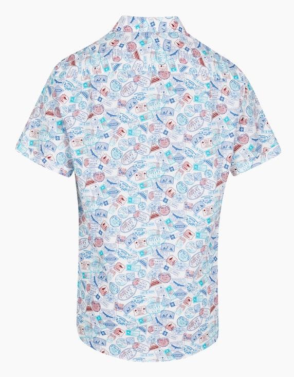 Bexleys man Freizeithemd mit modischem Stempelprint, MODERN FIT | ADLER Mode Onlineshop