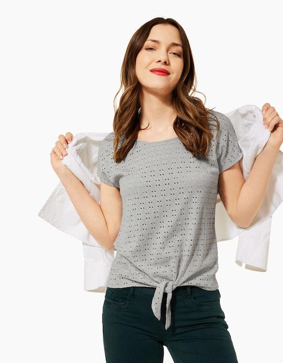 Street One Shirt mit Lochstickerei und Knotendetail | ADLER Mode Onlineshop