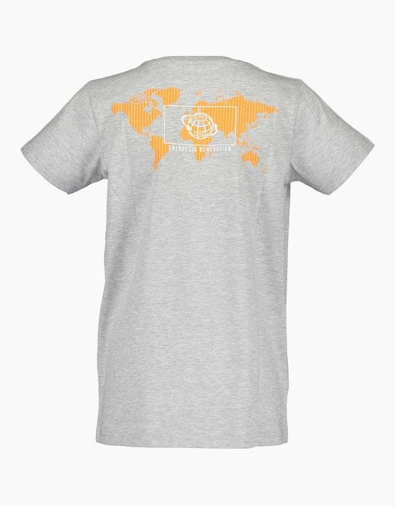 Blue Seven Boys T-Shirt mit Weltkarte und Melange-Effekt | ADLER Mode Onlineshop