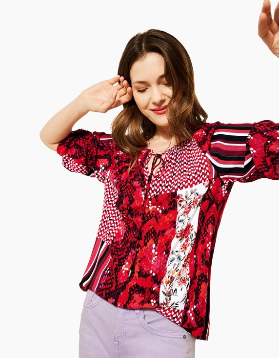 Street One Carmenbluse mit Allover-Muster | ADLER Mode Onlineshop