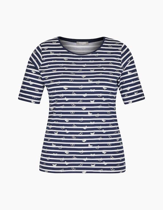 Rabe Shirt mit geringeltem Allover-Muster und Glitzersteinen | ADLER Mode Onlineshop
