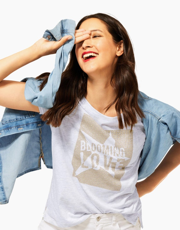 Street One Shirt mit schimmerndem Wordingprint   ADLER Mode Onlineshop