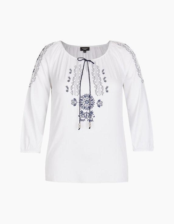 Bexleys woman Schlupfbluse mit Bindedetail in Weiß/Blau   ADLER Mode Onlineshop