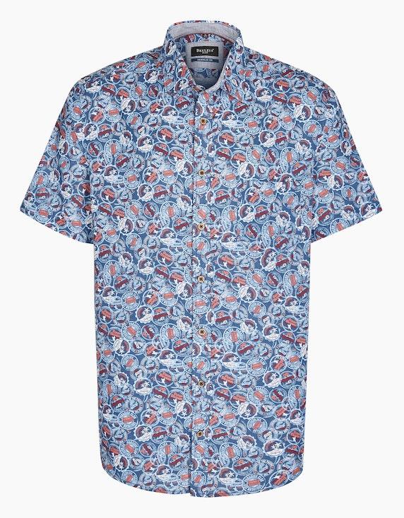 Bexleys man Freizeithemd mit Stempelprint, REGULAR FIT in Blau/Orange/Rot | ADLER Mode Onlineshop