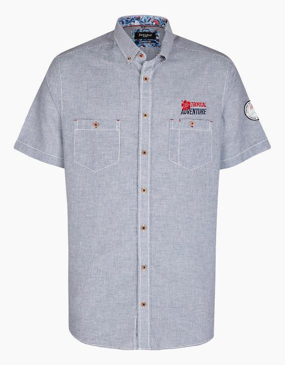 Bexleys man Freizeithemd im Kleinkaro mit Stickerei, REGULAR FIT in Blau/Weiß   ADLER Mode Onlineshop