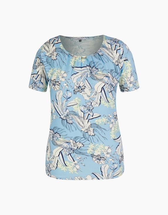 Steilmann Woman Druckshirt mit Zierkette am Ausschnitt in Hellblau/Weiß/Blau/Grün | ADLER Mode Onlineshop