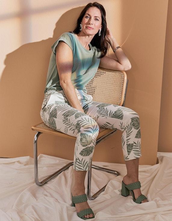 Bexleys woman Druckhose aus Viskose-Leinen-Mischung in Ecru/Grün | ADLER Mode Onlineshop