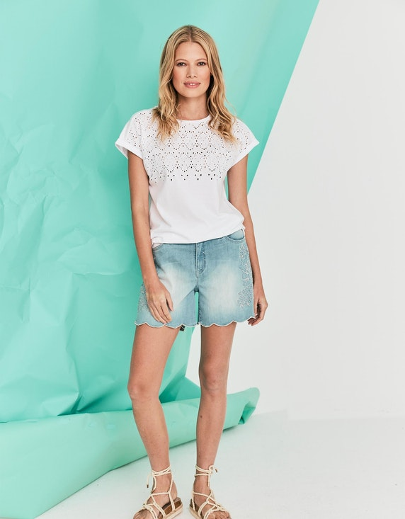 MY OWN Jeans-Shorts mit floraler Stickerei in Light Blue Denim   ADLER Mode Onlineshop