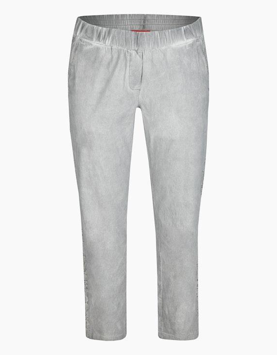 Thea Bengalin-Hose mit seitlicher Spitze in Grau | ADLER Mode Onlineshop
