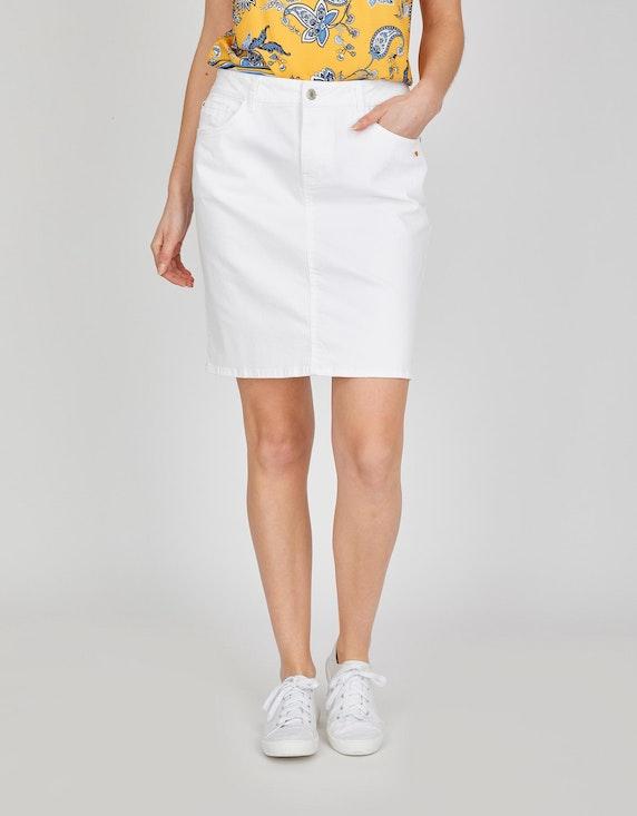 Via Cortesa Denim-Jeansrock, 5-Pocket-Style in Weiß | ADLER Mode Onlineshop