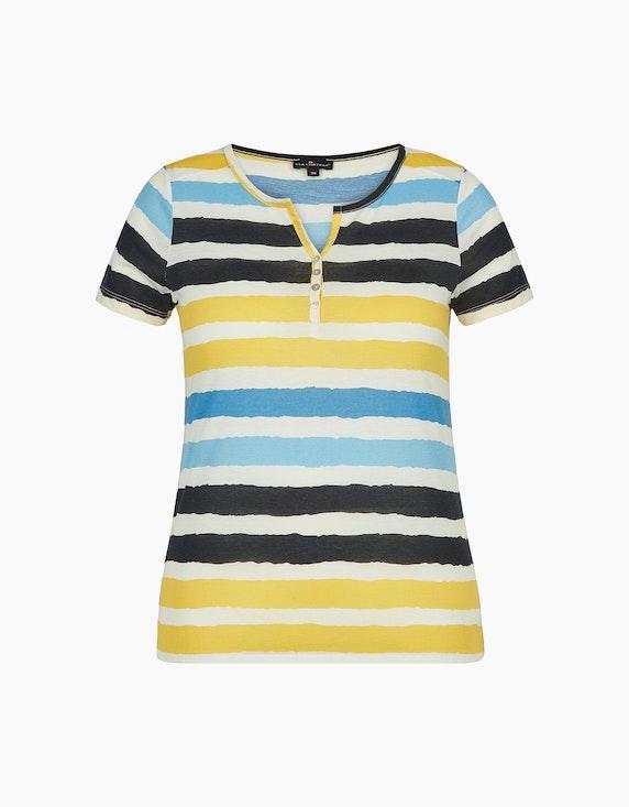 Via Cortesa leichtes Shirt im Streifen-Look in Offwhite/Gelb/Blau | ADLER Mode Onlineshop
