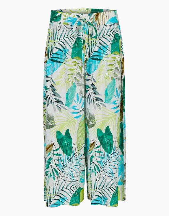 Viventy Hose im Culotte-Stil mit exotischem Muster in Offwhite/Türkis/Grün | ADLER Mode Onlineshop