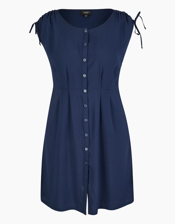 Bexleys woman Viskose-Kleid mit Knopfleiste und gelegten Falten in Dunkelblau | ADLER Mode Onlineshop