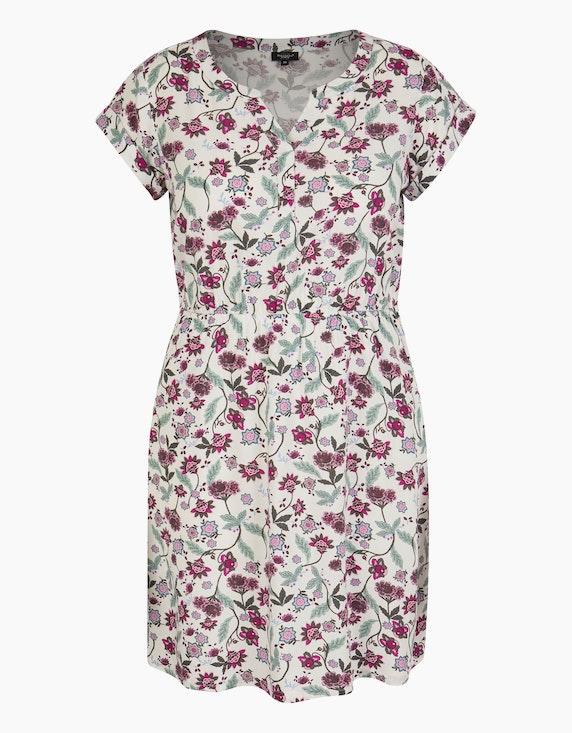Bexleys woman Viskose-Kleid mit Druck und elastischer Taille in Cremeweiß/Beere/Rosa/Grün | ADLER Mode Onlineshop