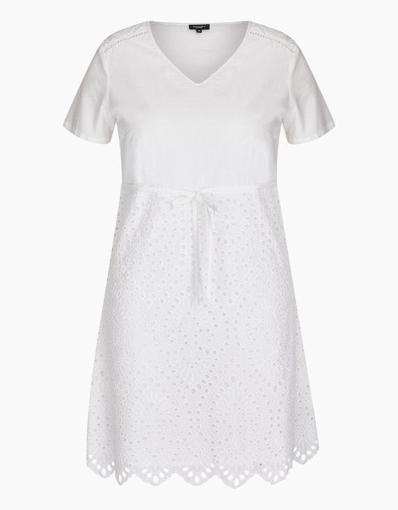 Bexleys woman Baumwoll-Kleid mit Lochstickerei in Weiß | ADLER Mode Onlineshop
