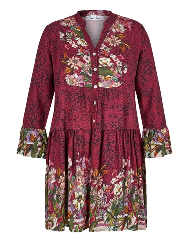 Produktbild zu Kleid mit Leo- und Blumen-Muster von Made in Italy