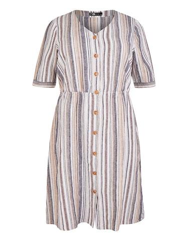 Produktbild zu Gestreiftes Leinenkleid mit durchgehender Knopfleiste von No Secret