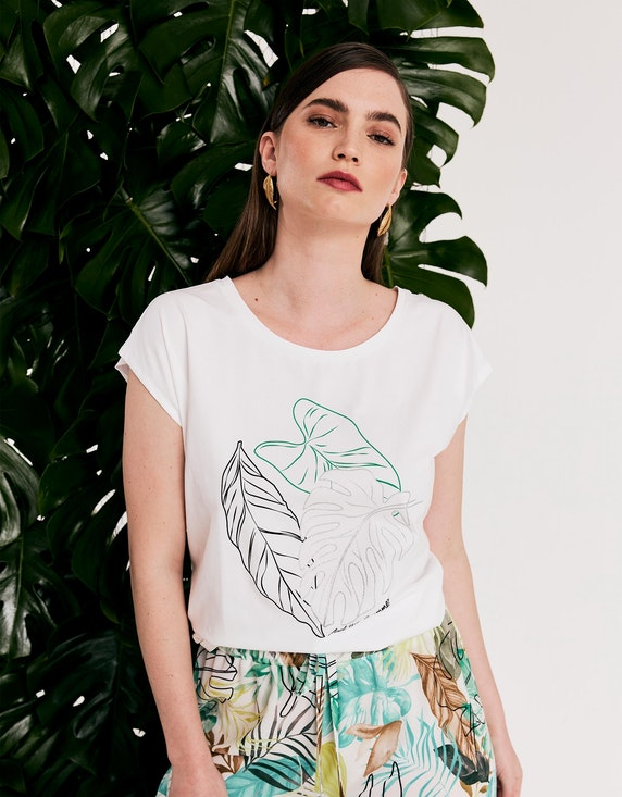 Viventy Shirt mit platziertem Blätter-Print | ADLER Mode Onlineshop