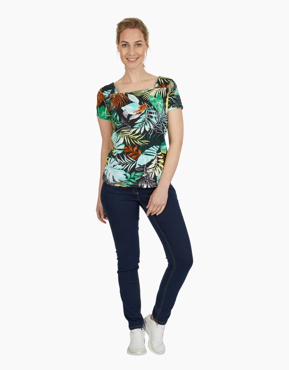 Viventy Shirt mit exotischem Allover-Print und Carreé-Ausschnitt | ADLER Mode Onlineshop
