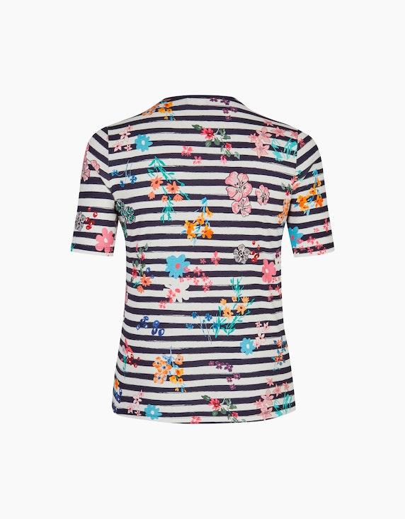 VIA APPIA DUE Streifenshirt mit floralem Frontprint und Ziernieten | ADLER Mode Onlineshop