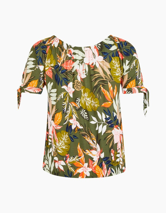 VIA APPIA DUE T-Shirt im Tropical-Muster mit U-Boot-Ausschnitt | ADLER Mode Onlineshop