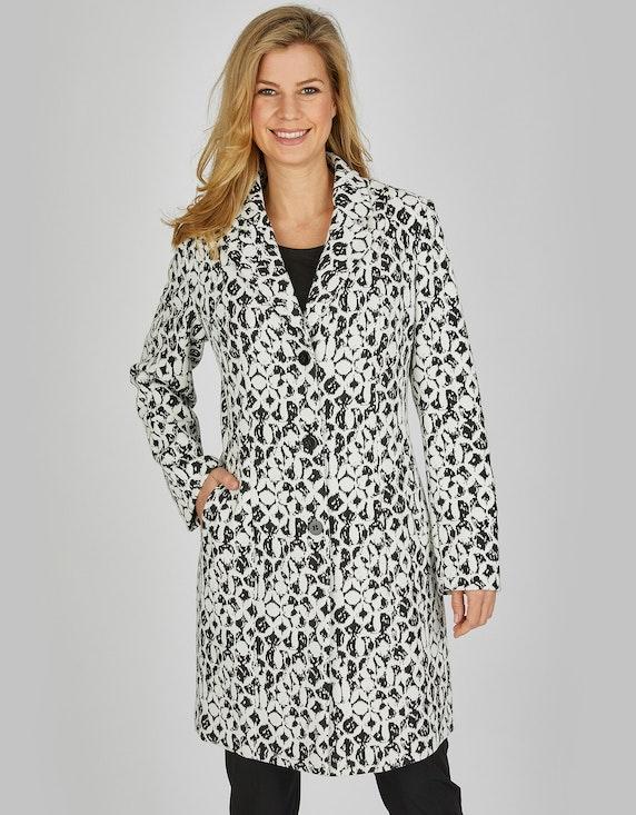 Bexleys woman Jacquard-Mantel mit Reverskragen in Schwarz/Weiß | ADLER Mode Onlineshop