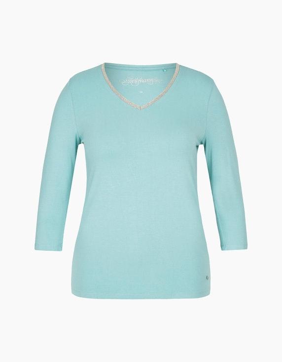 Steilmann Woman Shirt mit V-Ausschnitt und Kugelketten-Besatz in Aqua | ADLER Mode Onlineshop