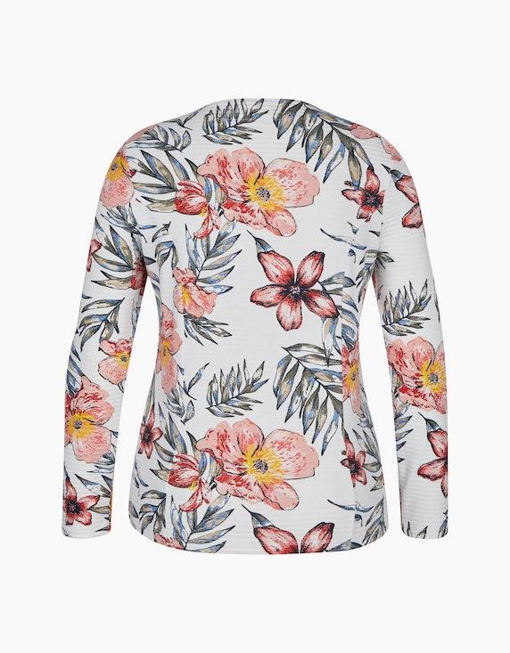 Bexleys woman Sweatjacke mit Ottoman-Rippe und floralem Druck | ADLER Mode Onlineshop