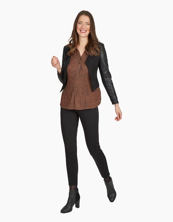 2-Biz Plisse-Bluse in Braun | ADLER Mode Onlineshop