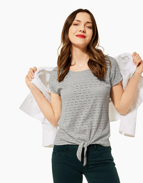 Street One Shirt mit Lochstickerei und Knotendetail   ADLER Mode Onlineshop