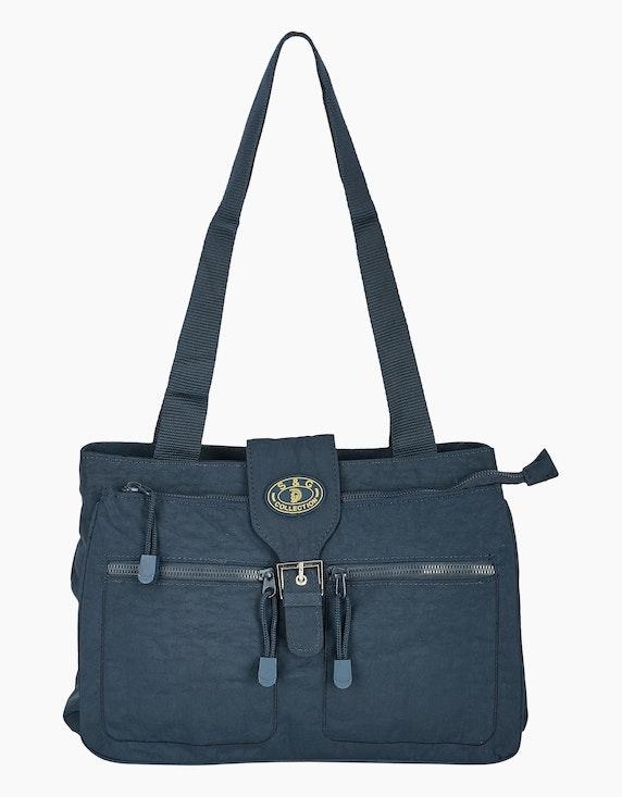 Conti Crinkle-Nylon Tasche mit Beschläge aus silberfarbenem Metall | ADLER Mode Onlineshop