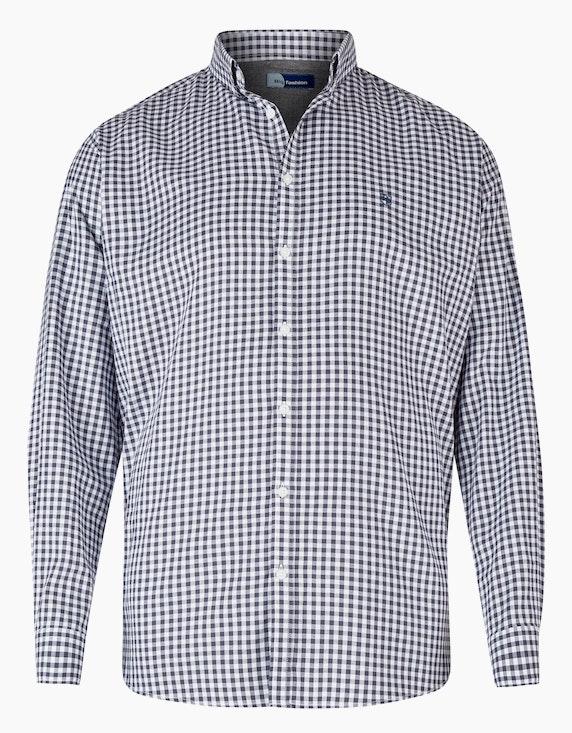 Big Fashion Hemd mit Vichy-Karo und Button-Down in Grau Weiß | ADLER Mode Onlineshop