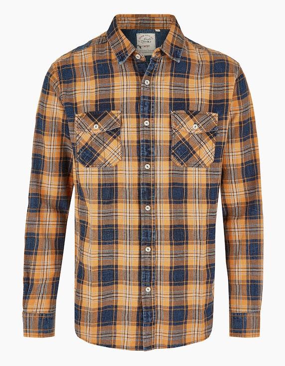 Eagle Denim Kariertes Hemd mit Pattentaschen in Orange/Blau | ADLER Mode Onlineshop