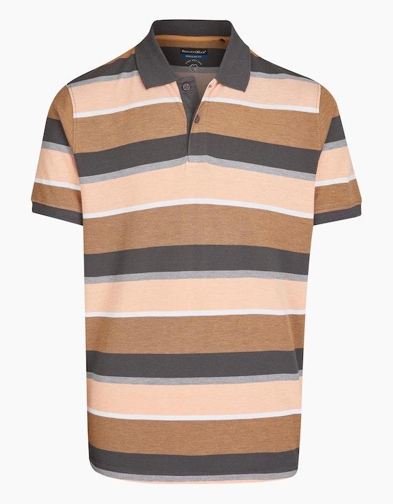 Bexleys man Gestreiftes Poloshirt in PIMA Cotton in Grau/Apricot/Hellbraun | ADLER Mode Onlineshop