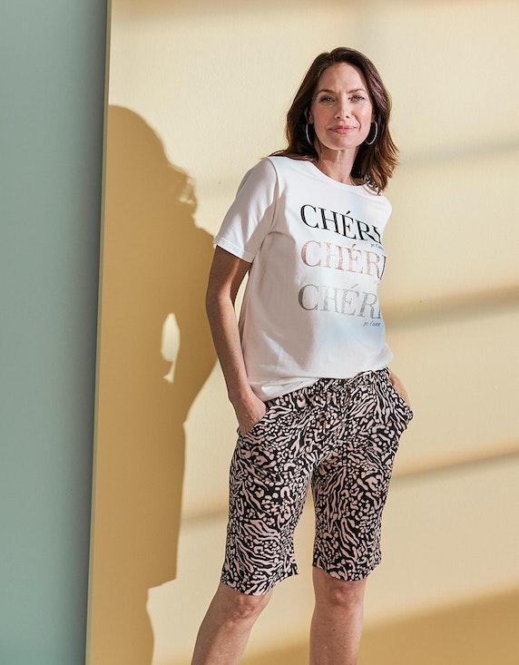 Bexleys woman T-Shirt mit Glitzer Statement-Print in Ecru | ADLER Mode Onlineshop