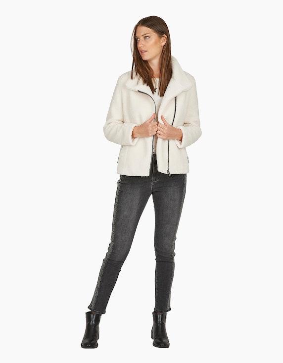 MY OWN Teddyfell-Jacke mit asymmetrischem Reißverschluss in Offwhite | ADLER Mode Onlineshop