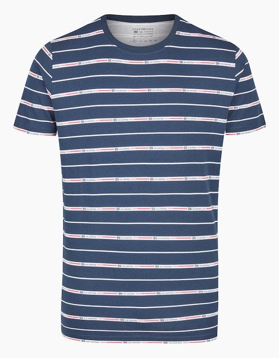 Via Cortesa T-Shirt mit Streifen-Muster in Blau/Weiß/Rot | ADLER Mode Onlineshop