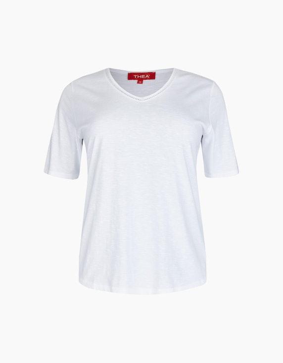 Thea Basic T-Shirt mit Strassverzierung in Weiß | ADLER Mode Onlineshop