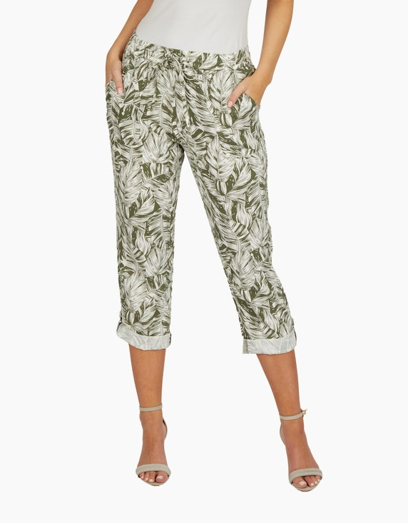 Bexleys woman Krempel-Hose aus Leinenmix mit Blätterdruck | ADLER Mode Onlineshop