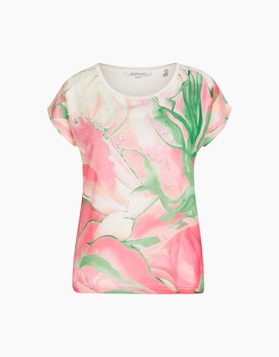 Steilmann Woman Shirt mit Chiffon-Front in Weiß/Pink/Grün   ADLER Mode Onlineshop