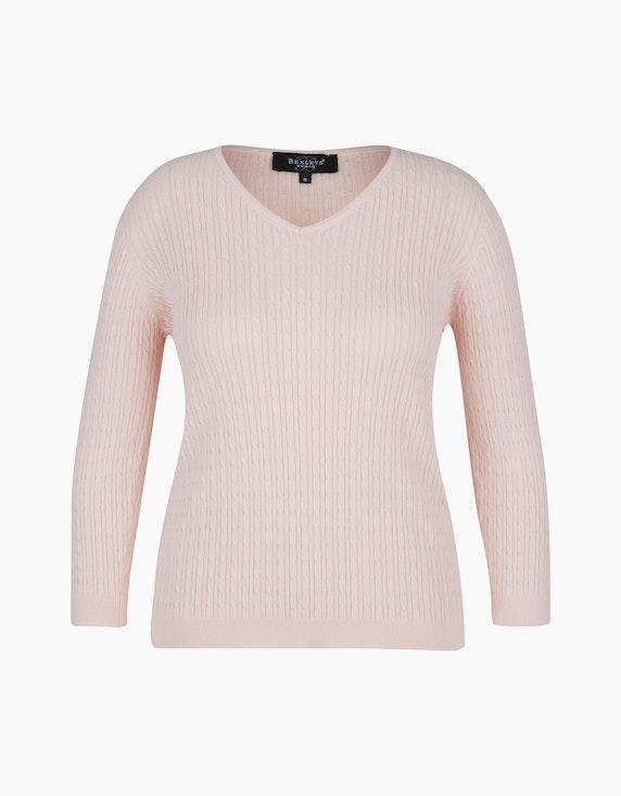 Bexleys woman Pullover mit Zopfmuster in Rosa | ADLER Mode Onlineshop