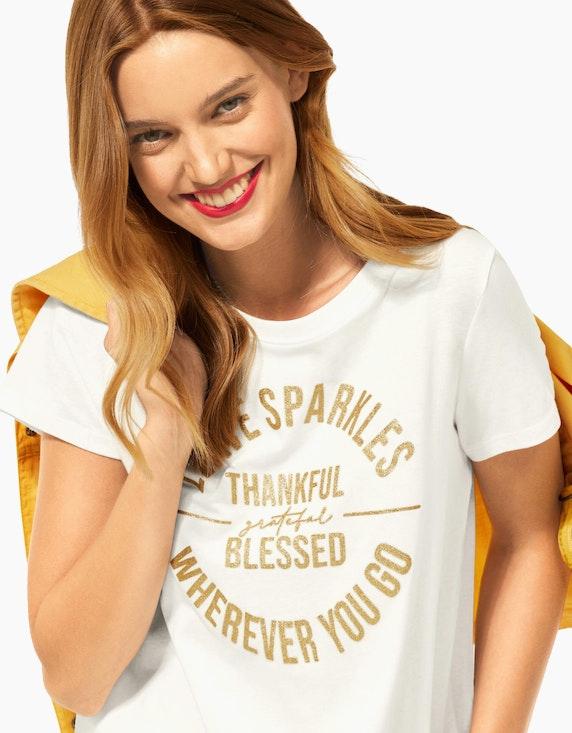 Street One Shirt mit Glitzer-Wording, reine Baumwolle | ADLER Mode Onlineshop